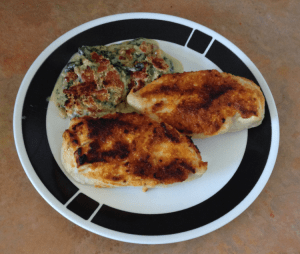 Cajun Chicken Cutlets and Spinach Gratin
