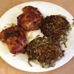 Spicy Chicken Thighs & Zucchini Cakes